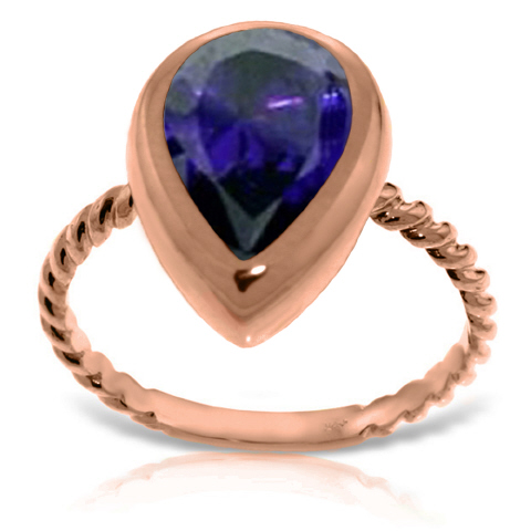 Pear Cut Sapphire Ring 3.5ct in 9ct Rose Gold