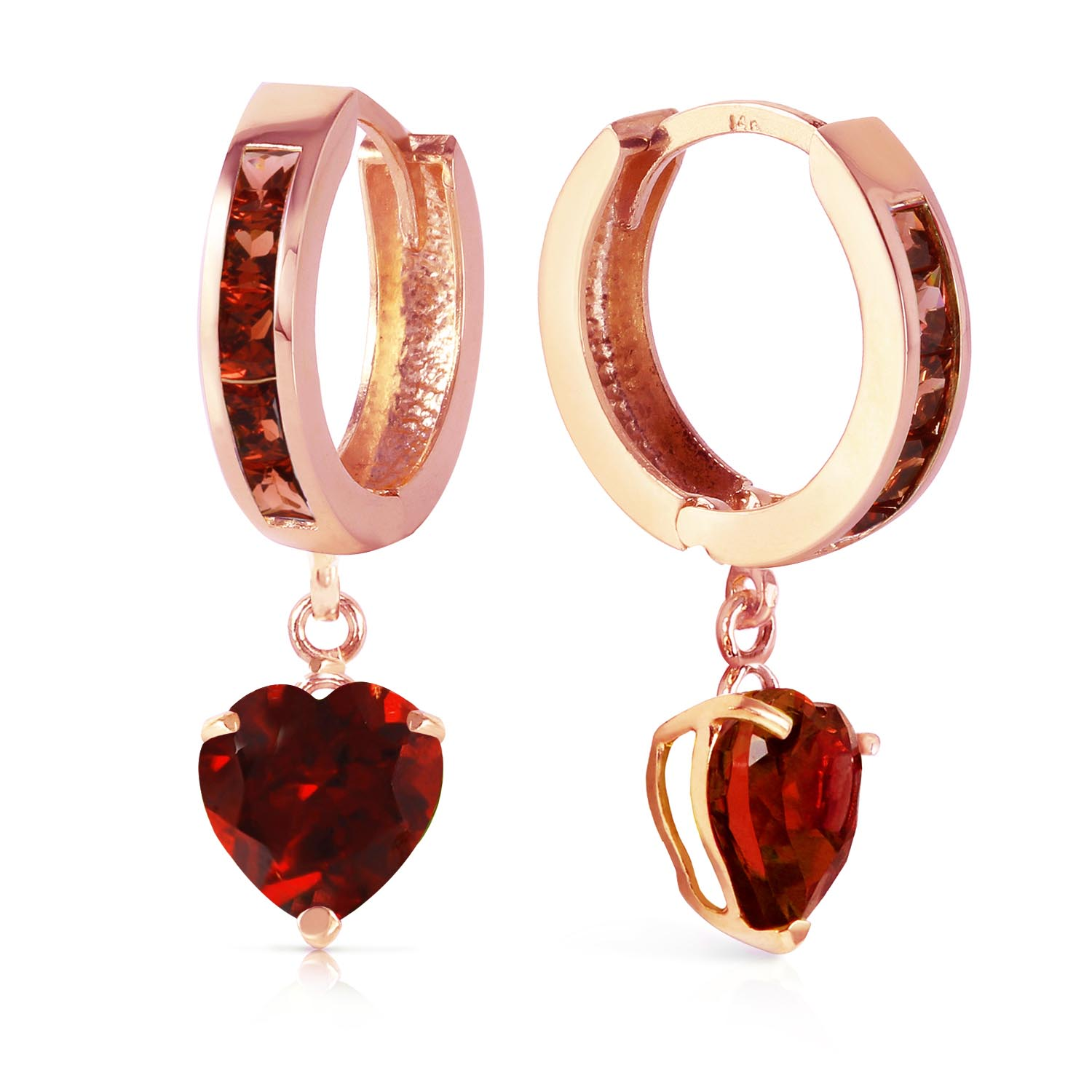 Garnet Huggie Earrings 3.85ctw in 9ct Rose Gold