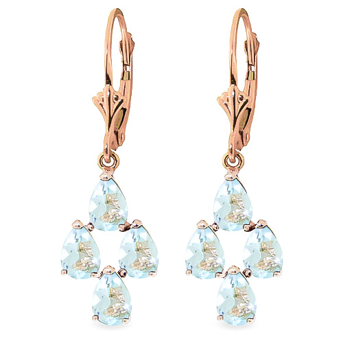 Aquamarine Drop Earrings 3.9ctw in 9ct Rose Gold