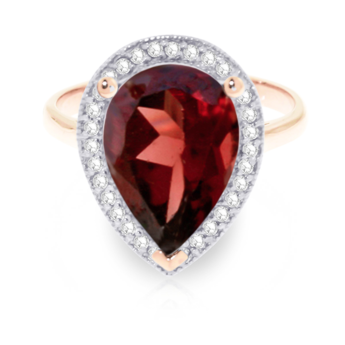 Garnet and Diamond Halo Ring 3.9ct in 9ct Rose Gold