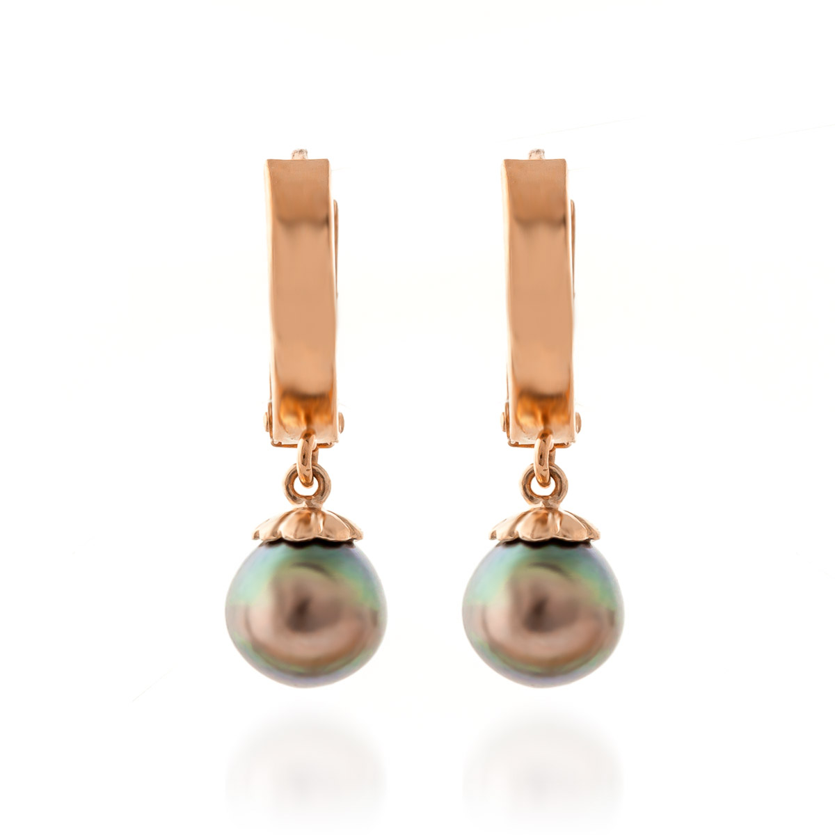 Black Pearl Drop Earrings 4.0ctw in 9ct Rose Gold