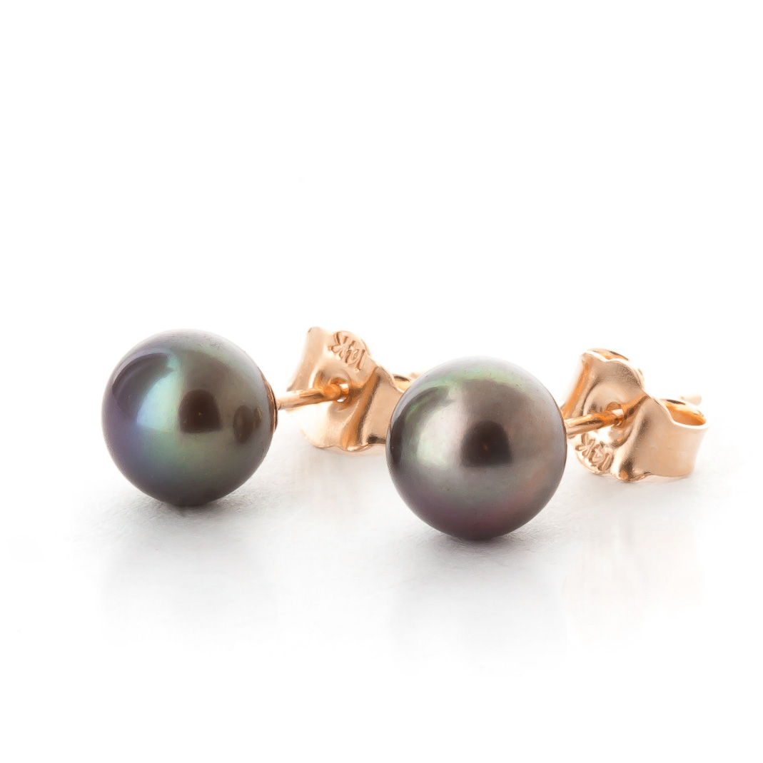 Black Pearl Stud Earrings 4.0ctw in 9ct Rose Gold