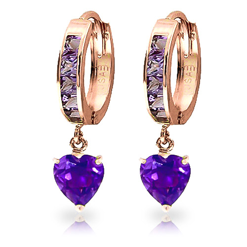 Amethyst Huggie Earrings 4.1ctw in 9ct Rose Gold
