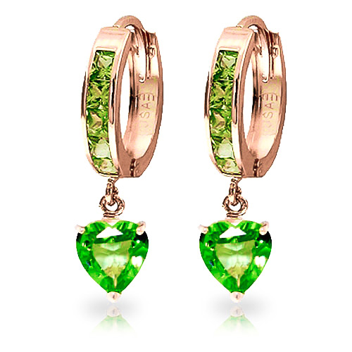 Peridot Huggie Earrings 4.1ctw in 9ct Rose Gold