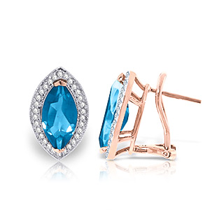 Blue Topaz and Diamond French Clip Halo Earrings 4.5ctw in 9ct Rose Gold