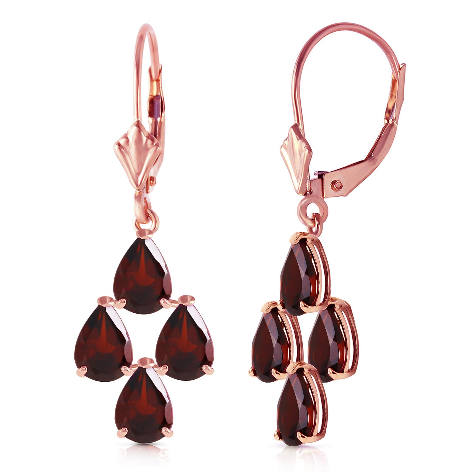 Garnet Drop Earrings 4.5ctw in 9ct Rose Gold