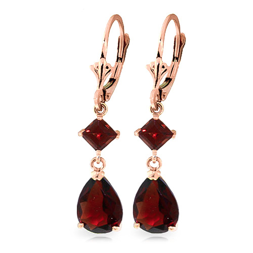 Garnet Droplet Earrings 4.5ctw in 9ct Rose Gold