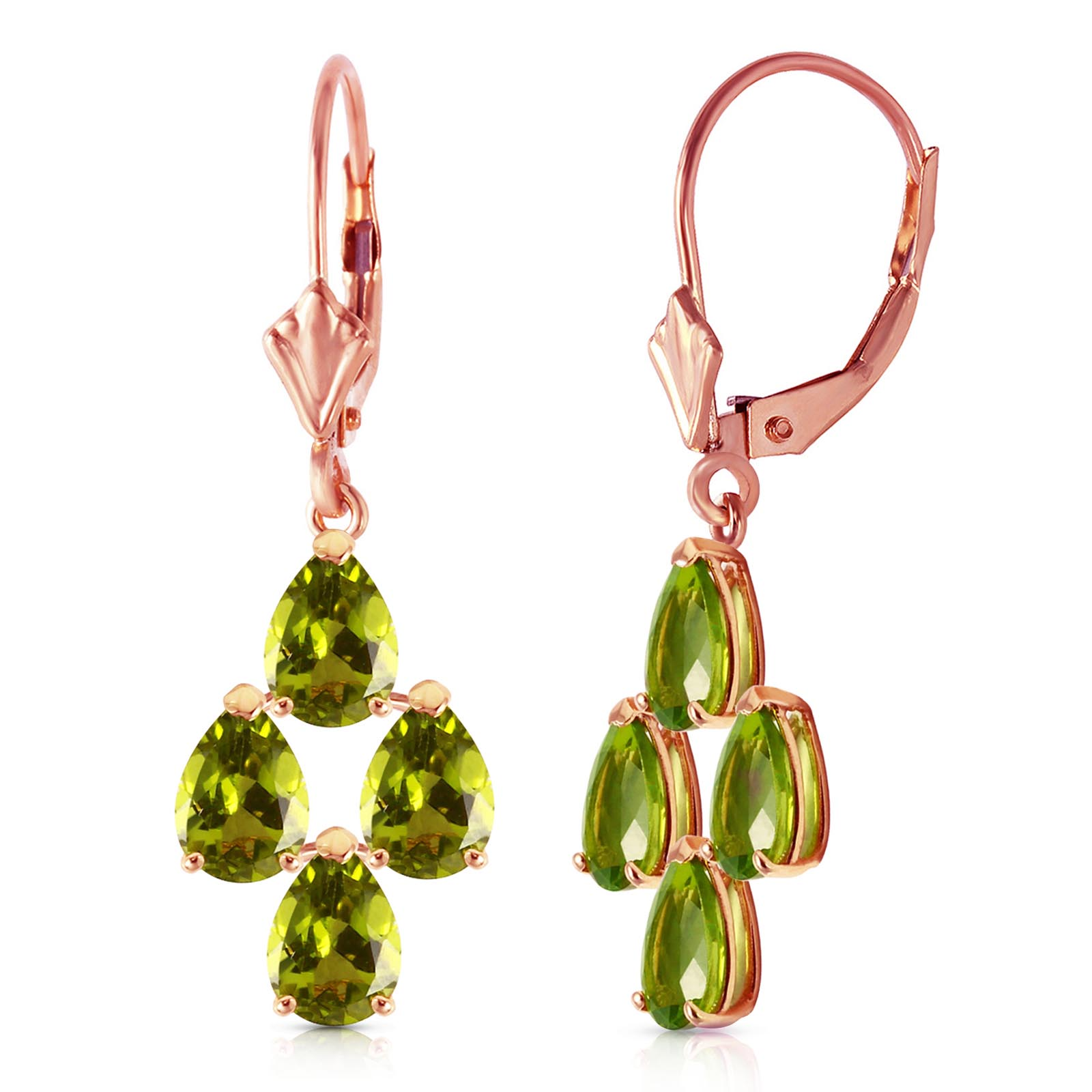 Peridot Drop Earrings 4.5ctw in 9ct Rose Gold