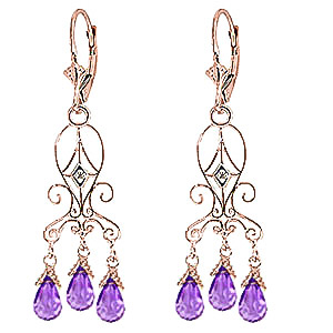 Stockists of Amethyst and Diamond Baroque Drop Earrings 4.8ctw in 9ct Rose Gold