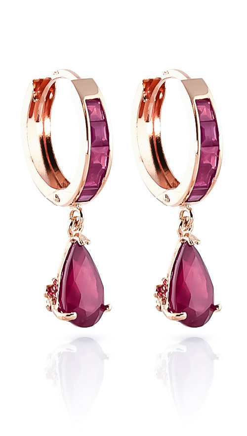 Ruby Huggie Drop Earrings 4.8ctw in 9ct Rose Gold