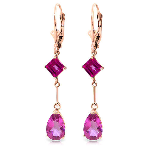 Pink Topaz Drop Earrings 4.95ctw in 9ct Rose Gold