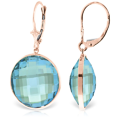 Blue Topaz Drop Earrings 46.0ctw in 9ct Rose Gold