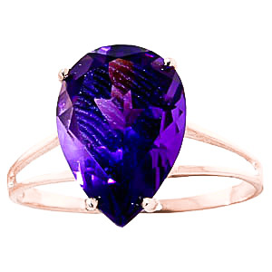 Pear Cut Amethyst Ring 5.0ct in 9ct Rose Gold