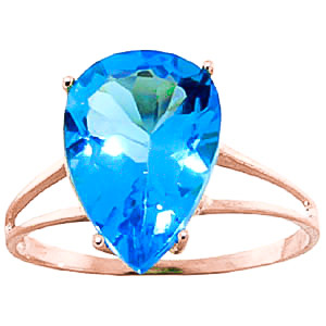 Pear Cut Blue Topaz Ring 5.0ct in 9ct Rose Gold