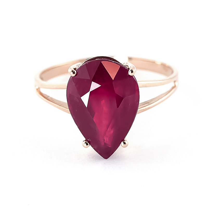 Pear Cut Ruby Ring 5.0ct in 9ct Rose Gold
