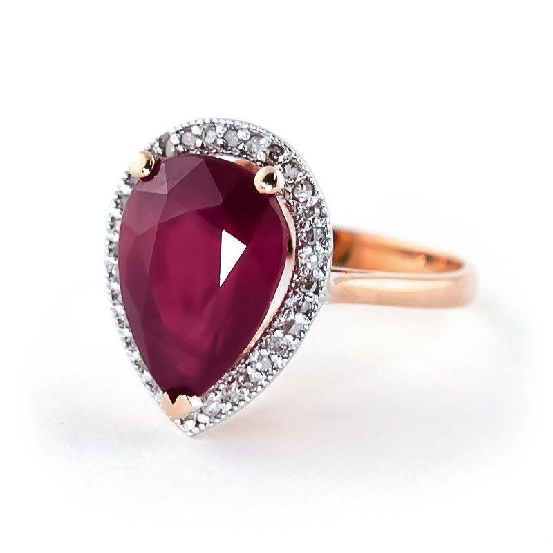 Ruby and Diamond Halo Ring 5.35ct in 9ct Rose Gold