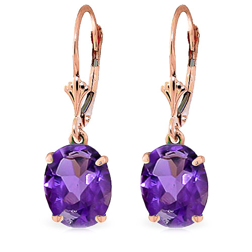Amethyst Drop Earrings 6.25ctw in 9ct Rose Gold