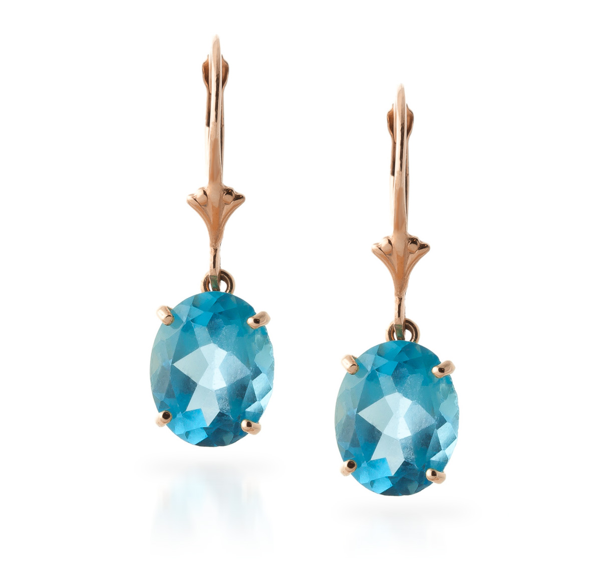 Blue Topaz Drop Earrings 6.25ctw in 9ct Rose Gold