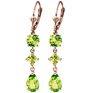 Peridot Drop Earrings 6.3ctw in 9ct Rose Gold