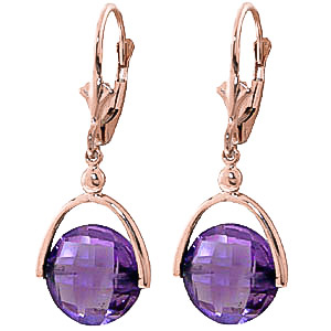Amethyst Drop Earrings 6.5ctw in 9ct Rose Gold