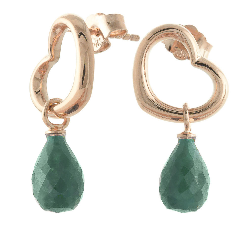Emerald Stud Earrings 6.6ctw in 9ct Rose Gold