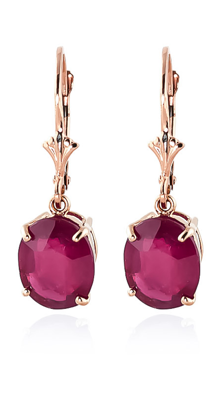 Ruby Drop Earrings 7.0ctw in 9ct Rose Gold