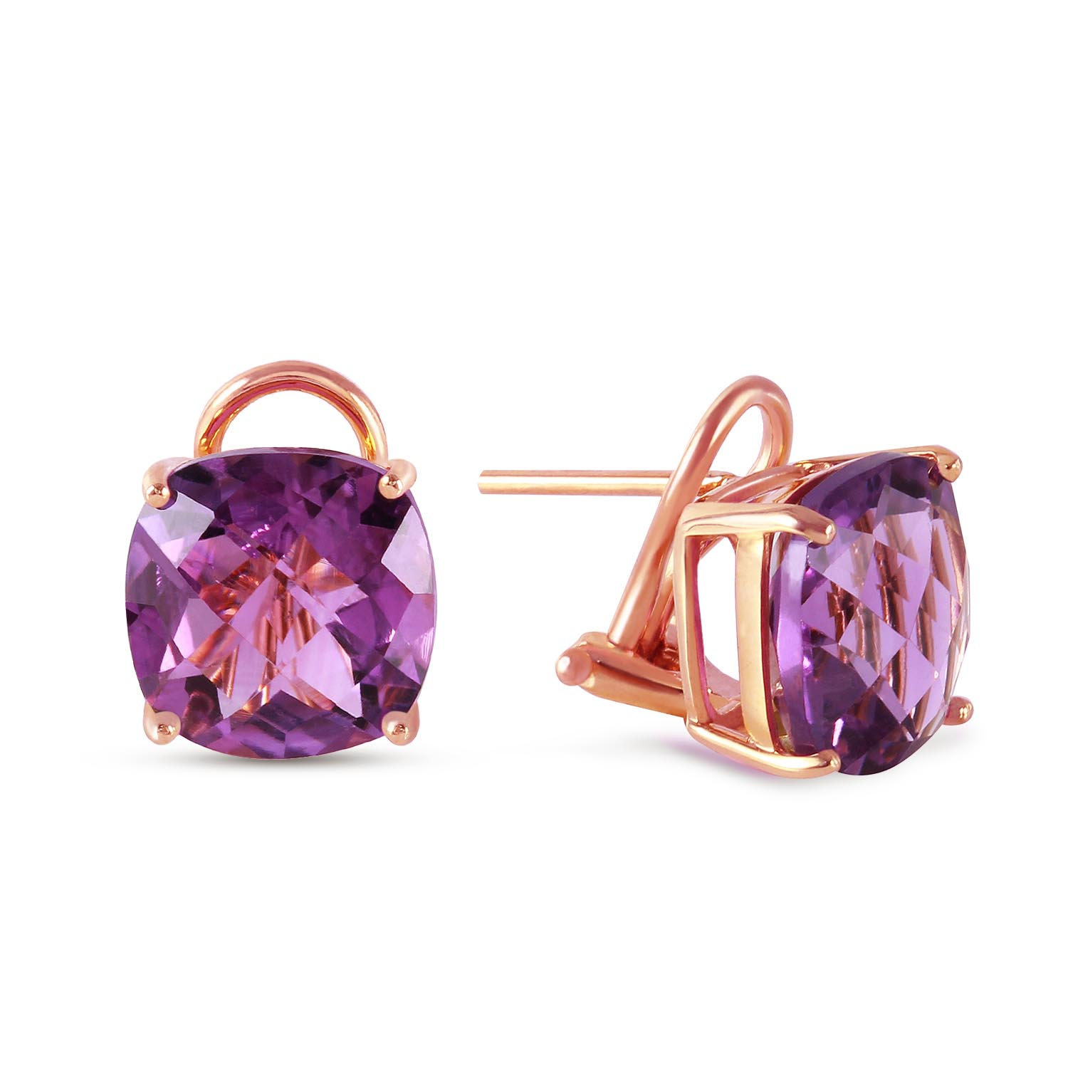 Amethyst Stud Earrings 7.2ctw in 9ct Rose Gold