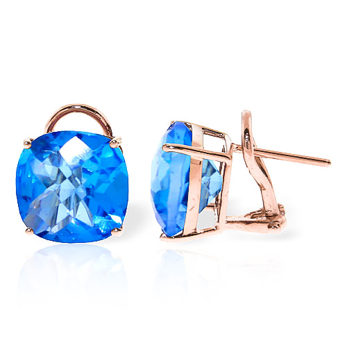 Blue Topaz Stud Earrings 7.2ctw in 9ct Rose Gold