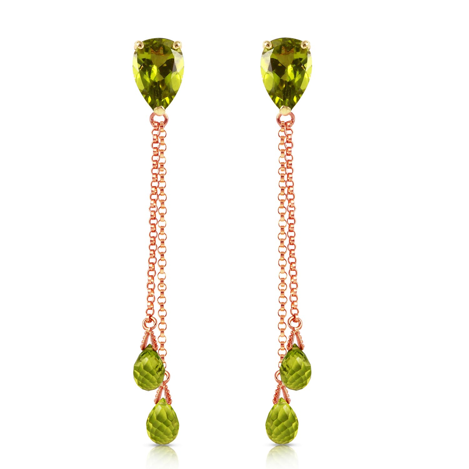 Peridot Droplet Earrings 7.5ctw in 9ct Rose Gold