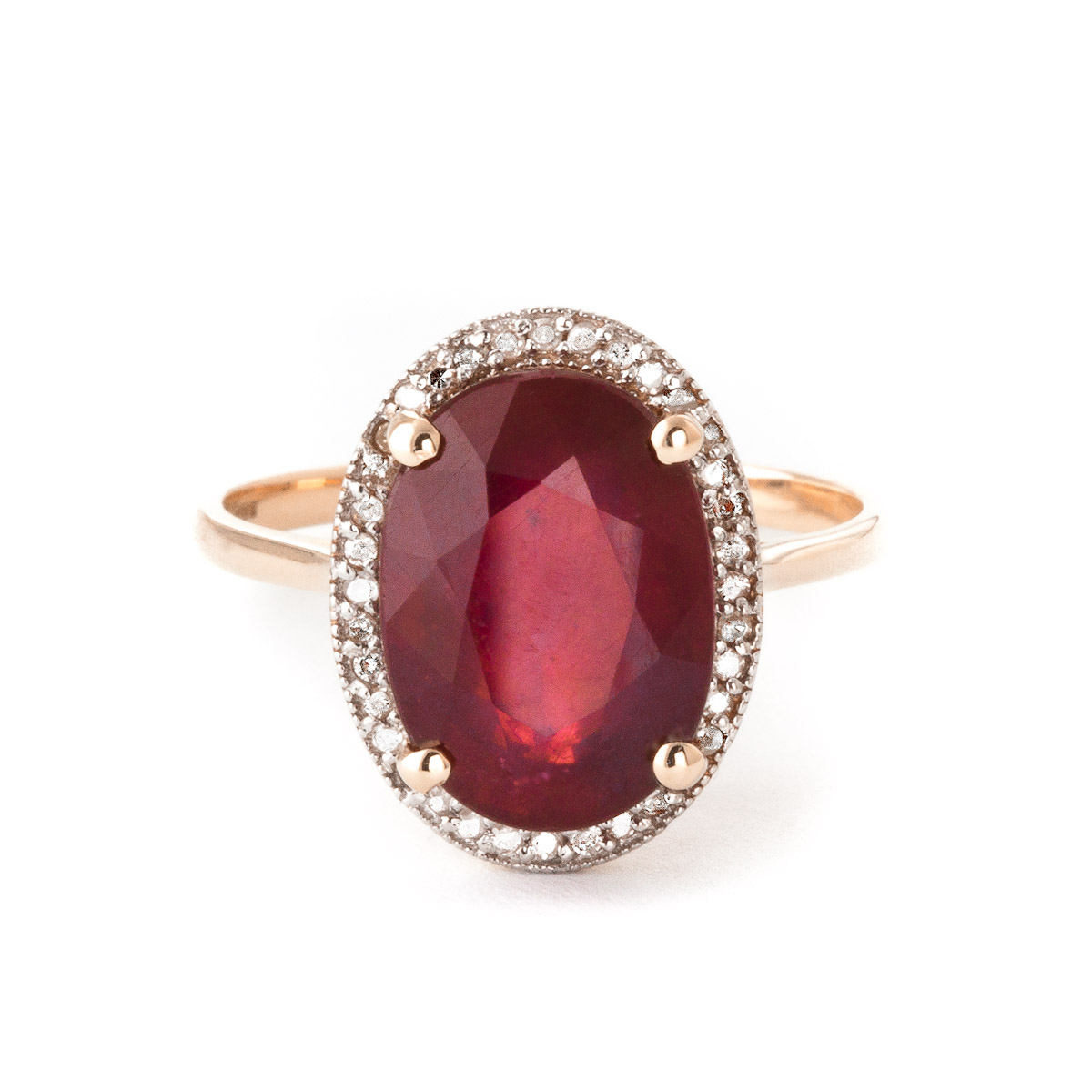 Ruby and Diamond Halo Ring 7.75ct in 9ct Rose Gold