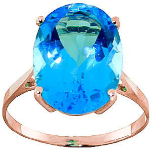 Oval Cut Blue Topaz Ring 8.0ct in 9ct Rose Gold
