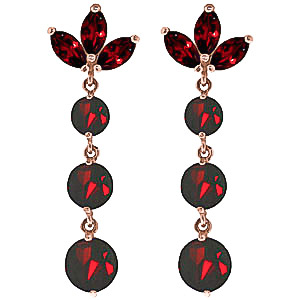 Garnet Petal Drop Earrings 8.7ctw in 9ct Rose Gold