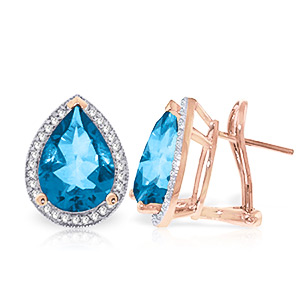 Blue Topaz and Diamond French Clip Halo Earrings 9.0ctw in 9ct Rose Gold