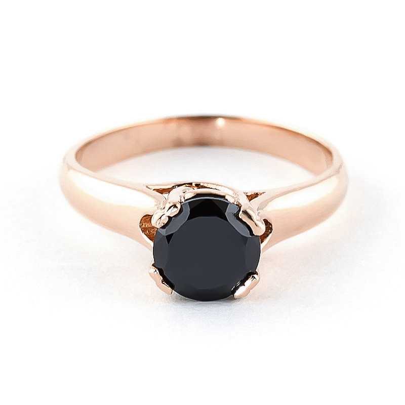 Black Diamond Solitaire Ring in 9ct Rose Gold