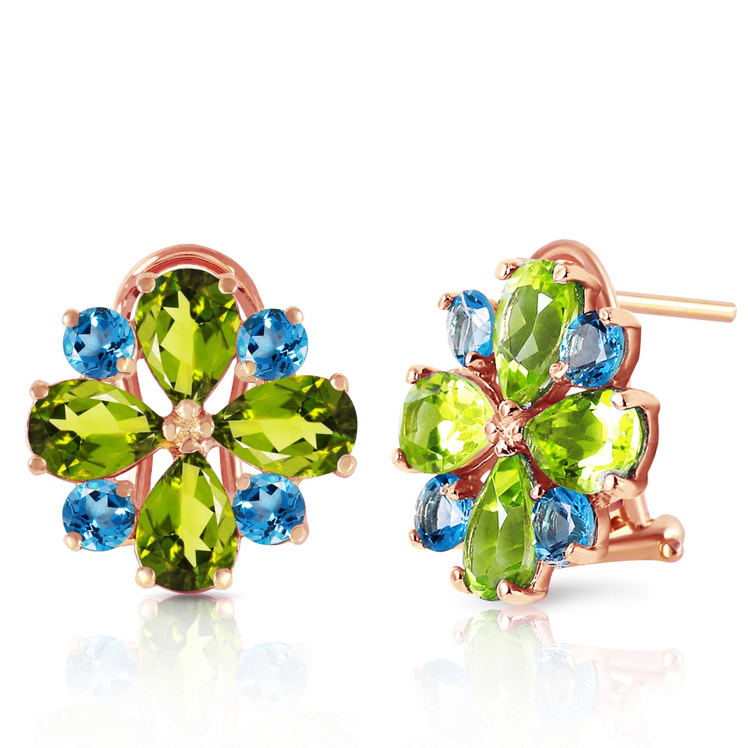 Peridot and Blue Topaz Sunflower Stud French Clip Earrings 4.85ctw in 9ct Rose Gold