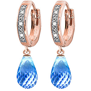 Diamond and Blue Topaz Earrings in 9ct Rose Gold