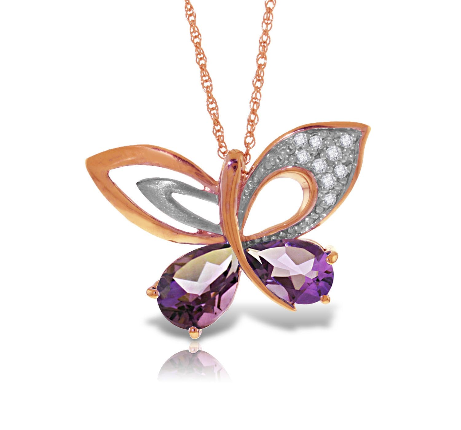 Stockists of Amethyst and Diamond Butterfly Pendant Necklace 3.5ctw in 9ct Rose Gold