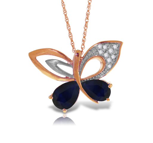 Women's Jewellery Sapphire and Diamond Butterfly Pendant Necklace 4.2ctw in 9ct Rose Gold