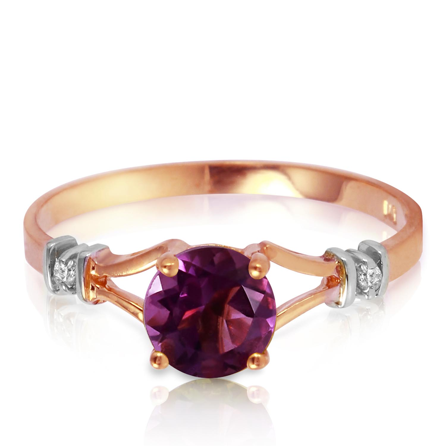 Stockists of Amethyst and Diamond Aspire Ring 0.9ct in 9ct Rose Gold