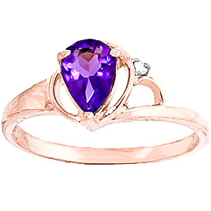 Amethyst and Diamond Ring 0.65ct in 9ct Rose Gold