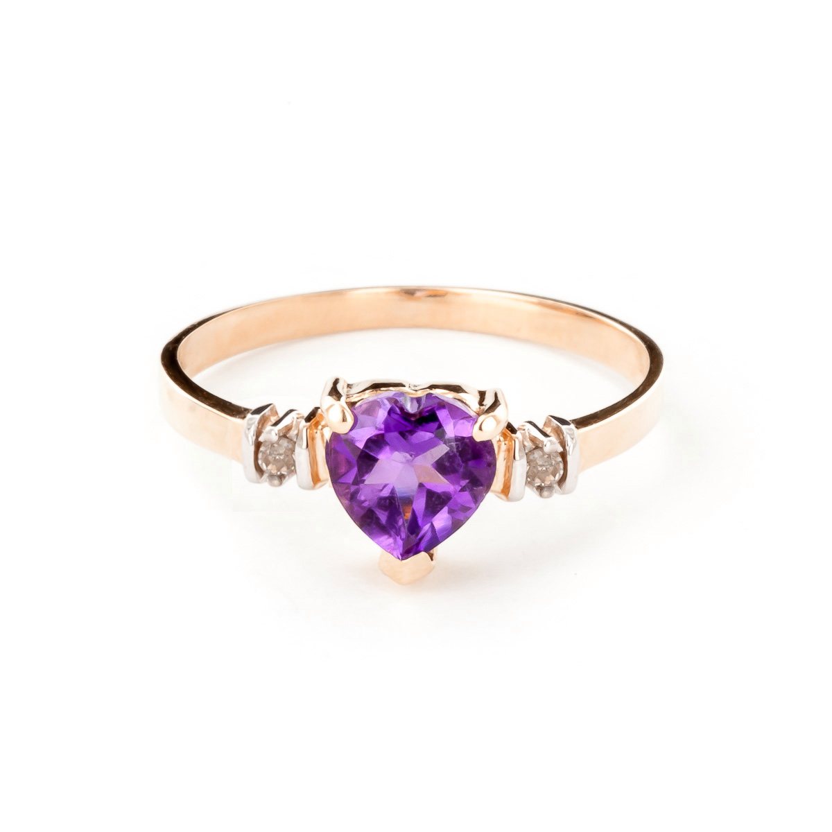 Amethyst and Diamond Ring 0.95ct in 9ct Rose Gold