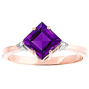 Amethyst and Diamond Ring 1.75ct in 9ct Rose Gold