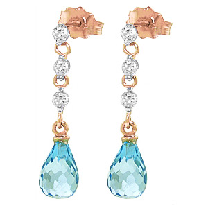 QP 9ct Rose Gold Diamond & Blue Topaz Chain Droplet Stud Earrings