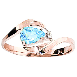 Blue Topaz and Diamond Ring 0.5ct in 9ct Rose Gold