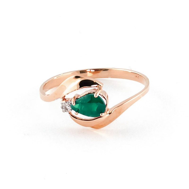 QP 9ct Rose Gold Diamond & Emerald Flare Ring