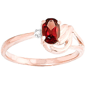 Garnet and Diamond Ring 0.45ct in 9ct Rose Gold