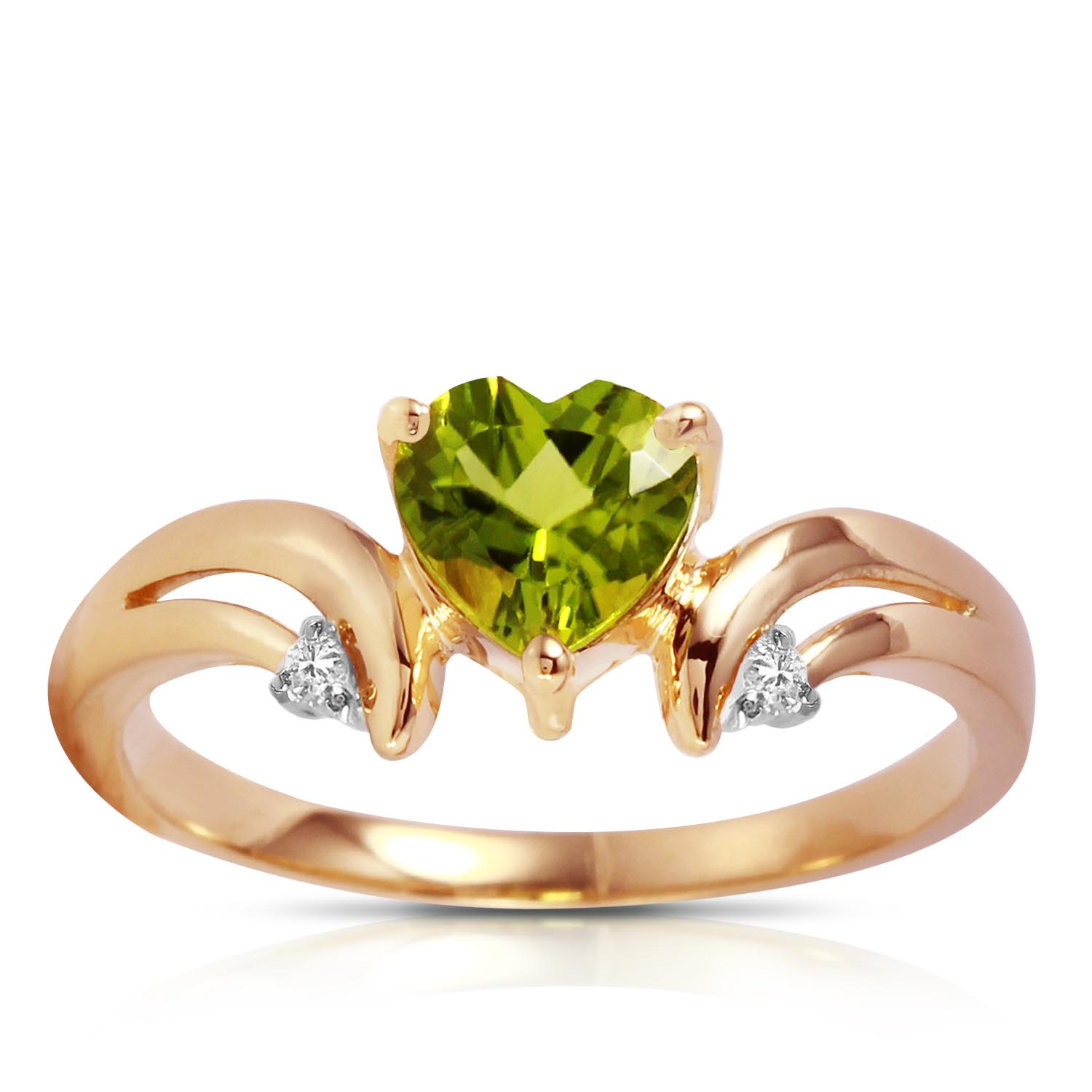 Peridot and Diamond Ring 1.25ct in 9ct Rose Gold