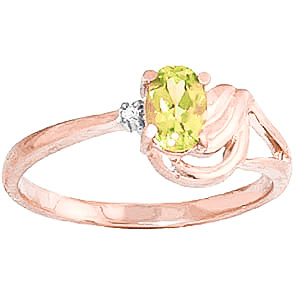 Peridot and Diamond Ring 0.45ct in 9ct Rose Gold