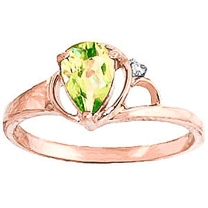Peridot and Diamond Ring 0.65ct in 9ct Rose Gold