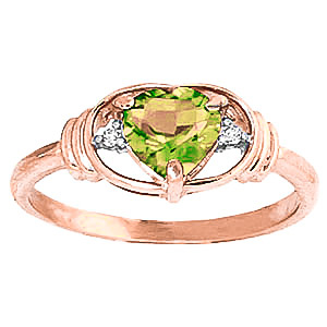 Peridot and Diamond Ring 0.6ct in 9ct Rose Gold